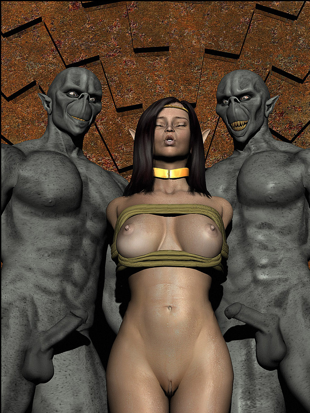 Naked elfes with aliens hentia image