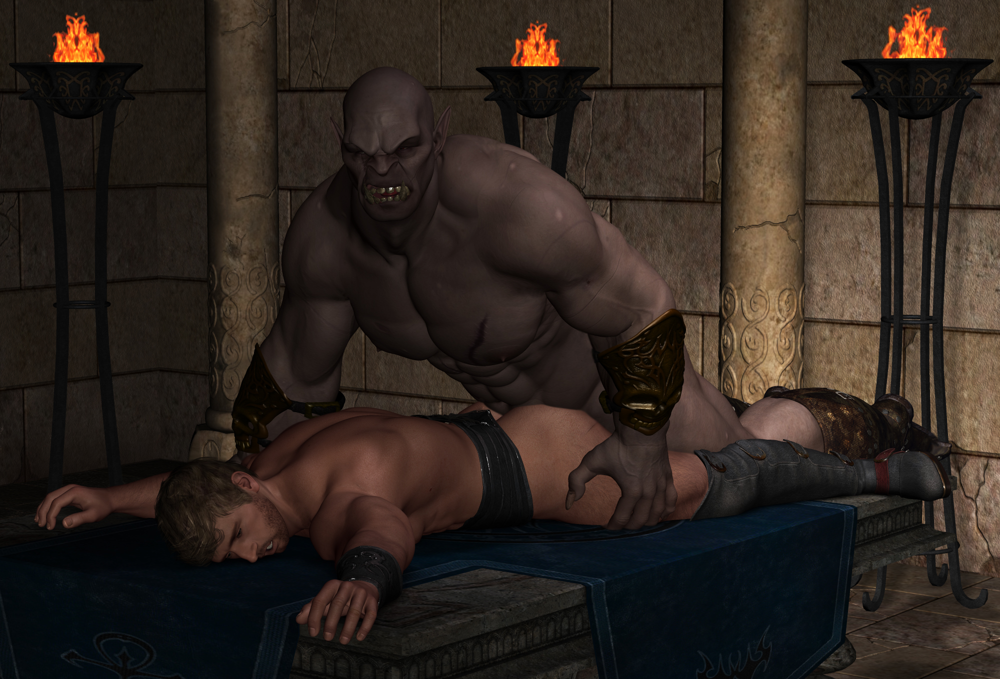 Monster fucks gay human sex scene
