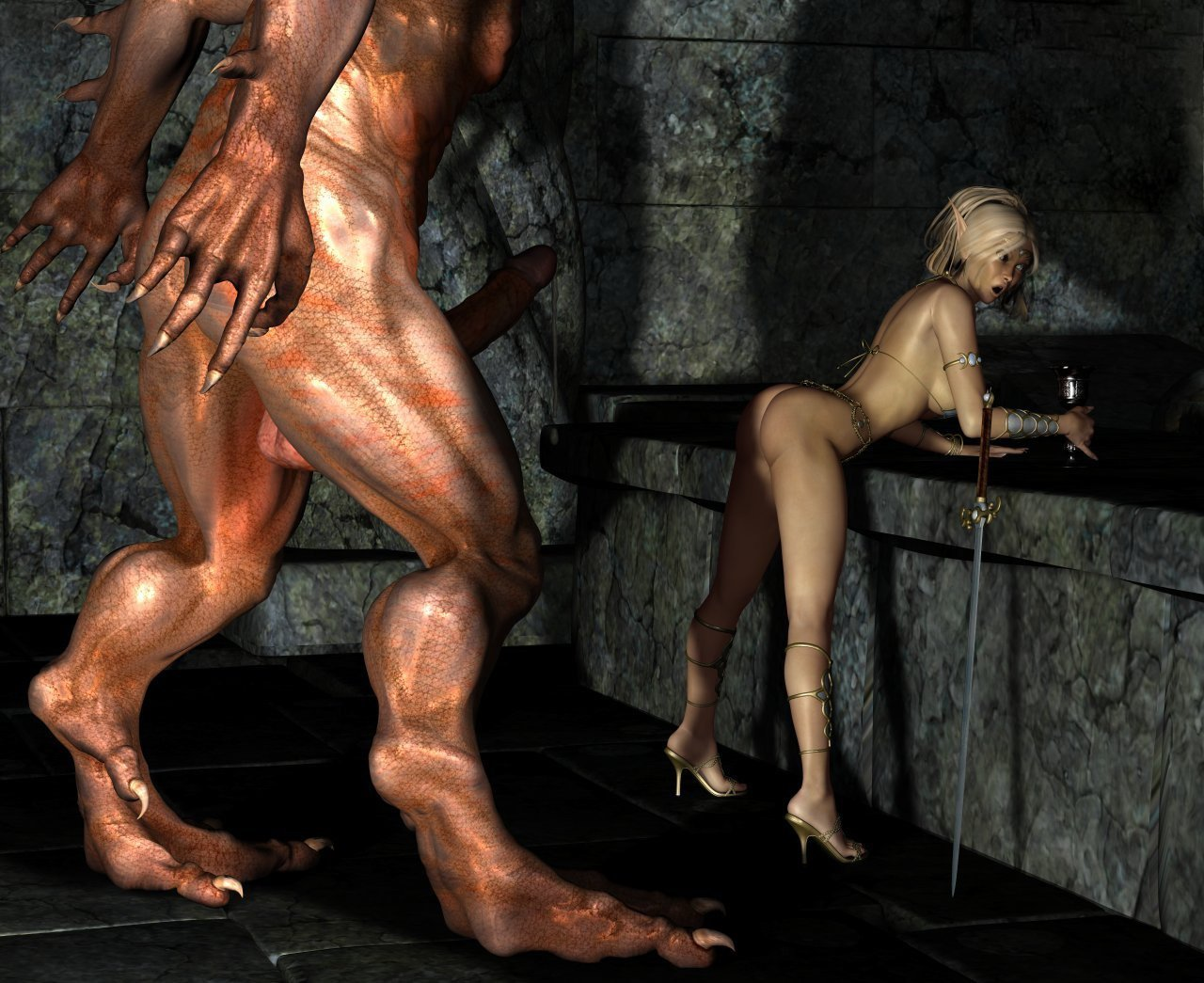 Elf dwarf demon female nude sexy scene