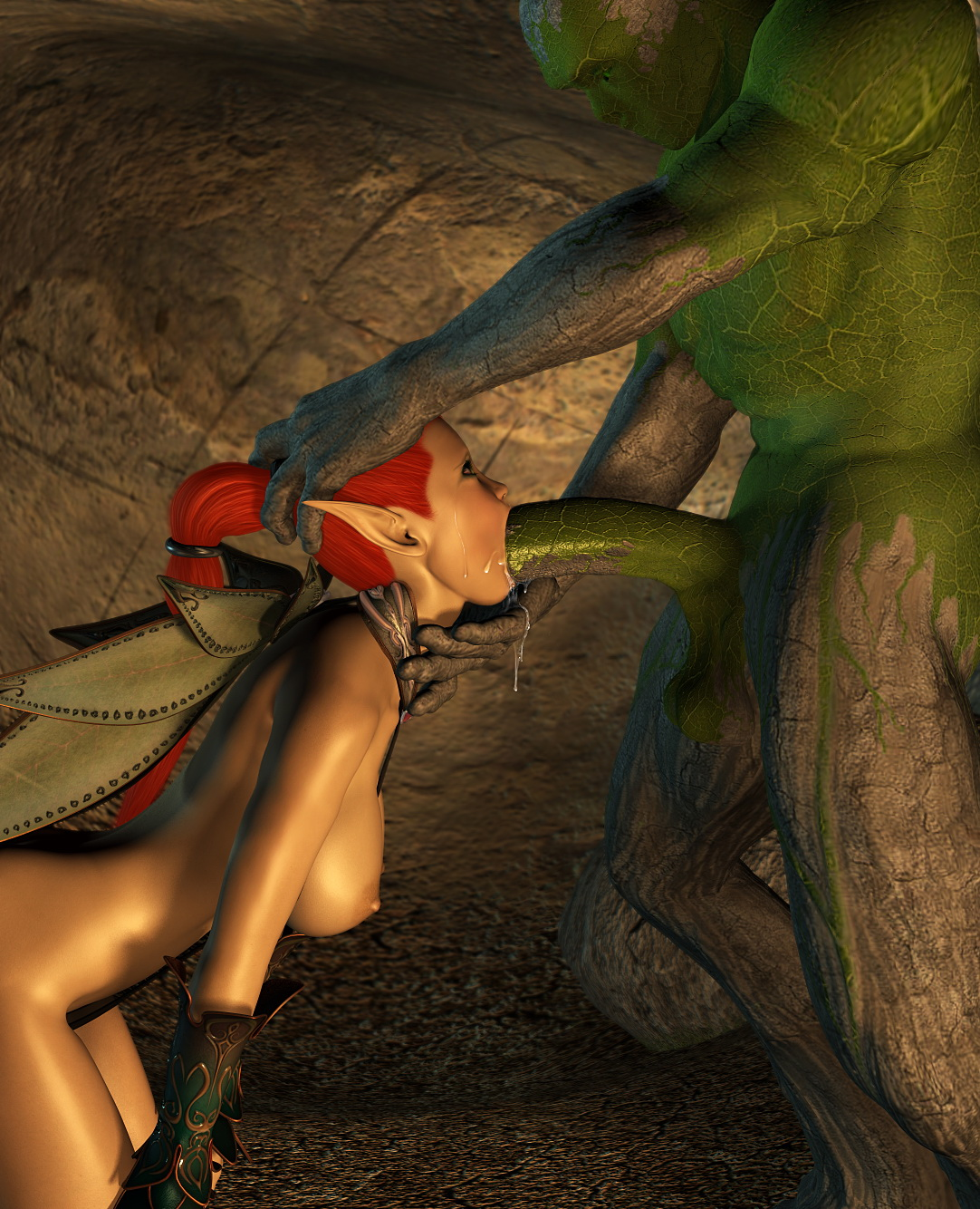 Female elf sucking cock erotic photo