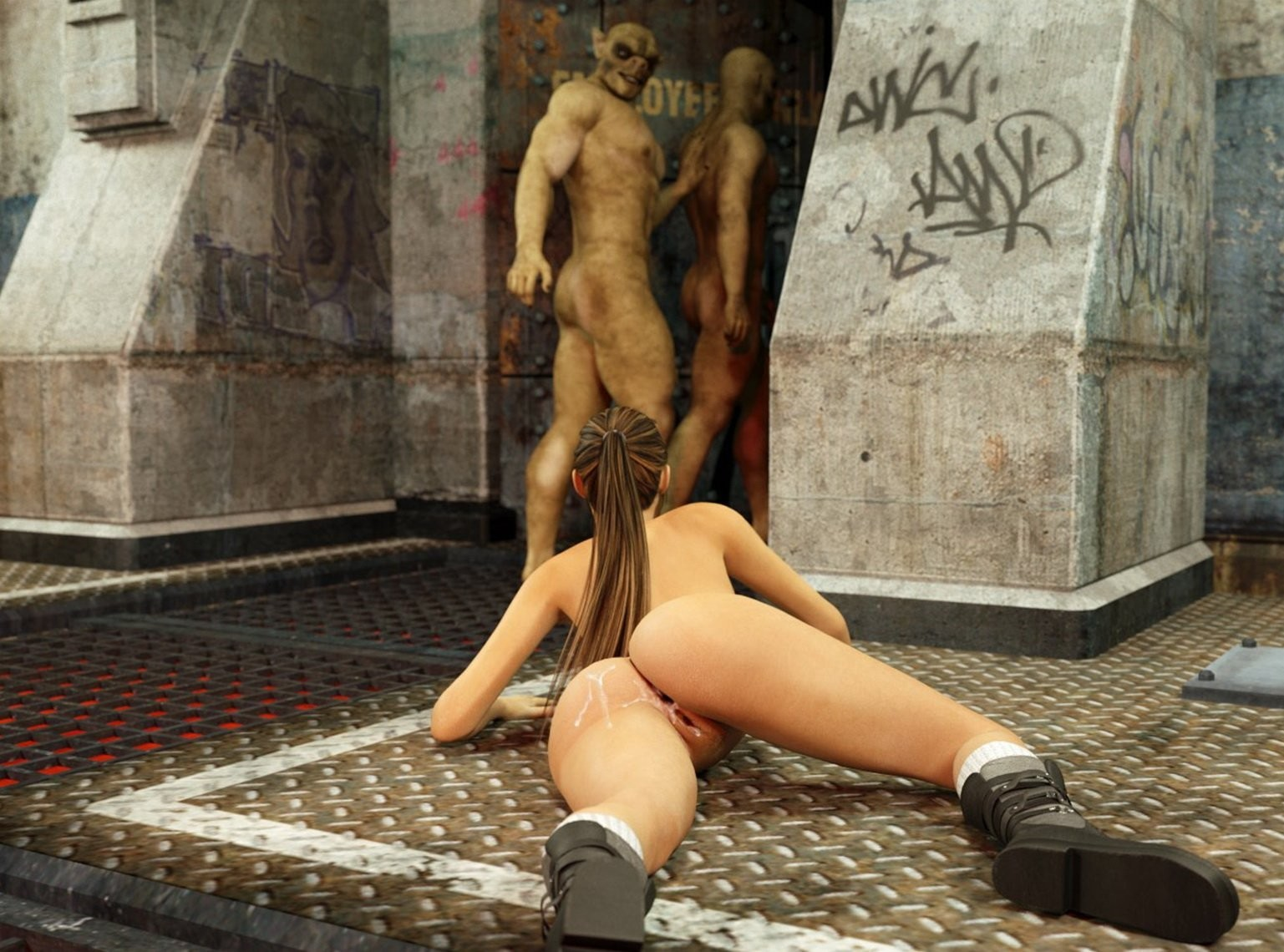 Lara croft x monster hentai adult image