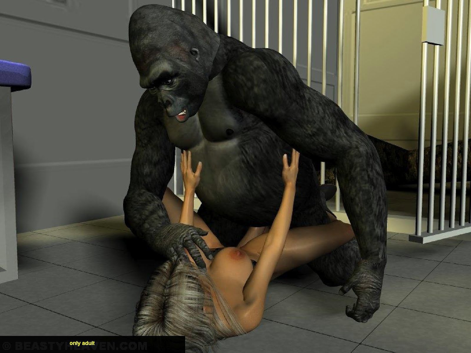 gorilla and naked woman