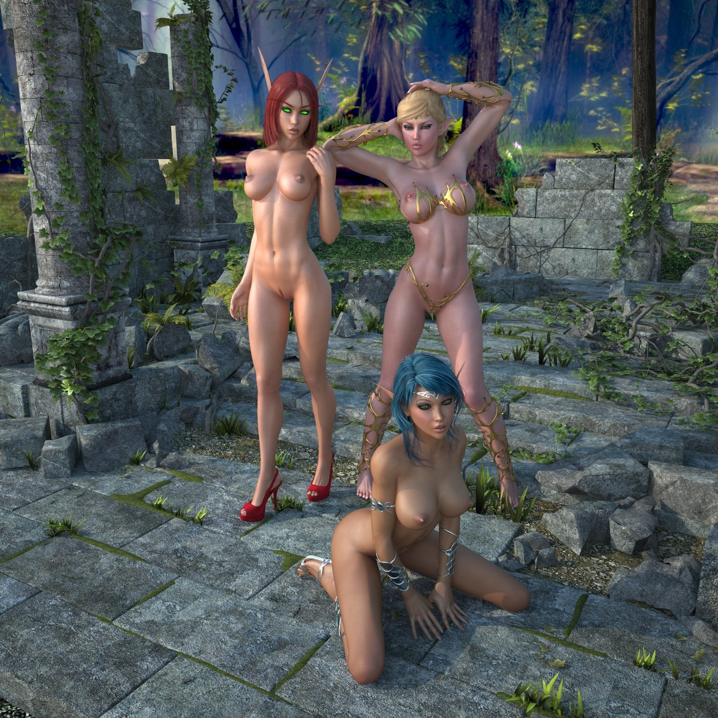 Cartoon 3d nude elf hentay scene