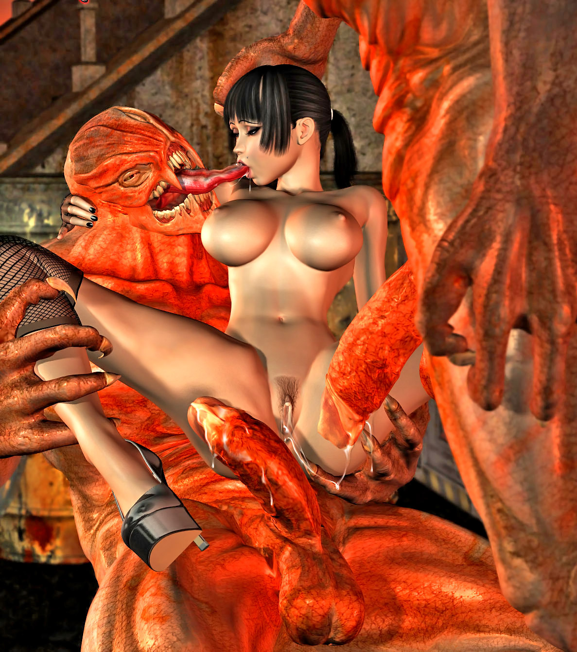 Naked girls 3d monster cartoon erotica pic