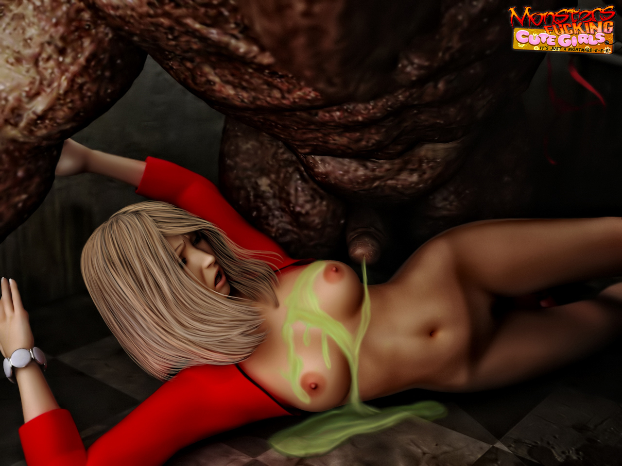 Monster sex 3d blue haired girl adult comics