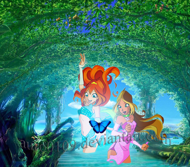 bloom winx cartoon sex art flora fae winx bloom stella avec auro papillon bleu disco