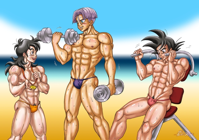 dragon ball z hentai hentai gay dragon ball yaoi dbz muscle kai dbkai boys beach bishonen bara saiyan peruggine speedo bodybuilding venice hentaifree