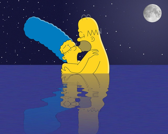 marge simpson naked marge simpson homer monday skinny dip moonlight dipping