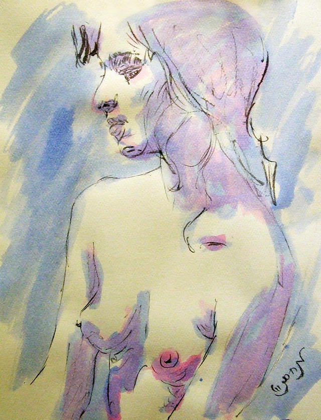 porn drawings galleries sexy woman large nude young sketch feeling featured zimmerman watercolor drawing portrait sensual lonely medium acrylic