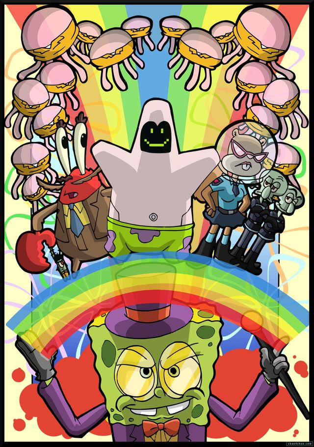 xxx toon art media cartoon art original spongebob rainbow wonka