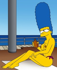 homer and marge bondage marge simpson simpsons suntan oil monday second honeymoon sea