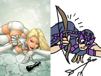 sexy drawings of a famous super heroine hot porn ejpg xlarge hawkeye initiative redraws absurd superheroine poses