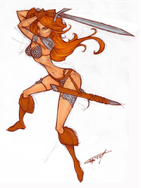 sexy drawings of a famous super heroine hot porn red sonja sketch gelipe art painting