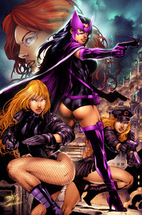 super heroes porn toons birds prey benes oracle huntress black canary poster sexy comic book women comics booty hips thighs boobs tit entry