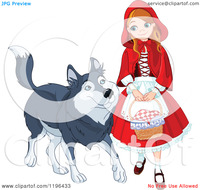 3d cartoon comics porn cartoon happy red riding hood walking friendly wolf royalty free vector clipart
