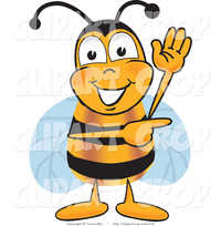 animated character porn clip art vector friendly bee mascot cartoon character waving pointing right toons biz honey