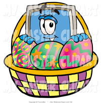 animated character porn clip art computer monitor mascot cartoon character easter basket decorated eggs toons biz