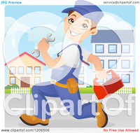animated character porn cartoon happy caucasian mechanic worker running down street wrench tool box royalty free vector clipart character