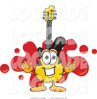 animated character porn logo yellow black guitar mascot cartoon character red paint splatter background toons biz blue dash