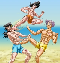 dragon ball z hentai dbz gay hentai yaoi bishonen muscle dbkai bara dragon ball kai saiyan peruggine muay thai beach fanart gohanxtrunks training