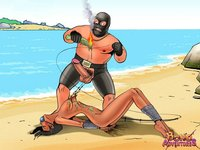 cartoon bdsm porn pics bondadventures bruce bond gets great bdsm catch beach