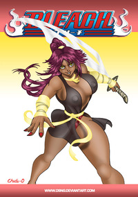 cartoon boobs pic yoruichi sword ninja samurai bleach yuroichi huge phat sexy thick boobs breasts tits tities anime cartoon drawing art entry