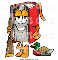 cartoon character porn pictures sports clip art happy red book mascot cartoon character duck hunting standing rifle toons biz characters clipart