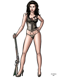 erotic cartoon drawings caricatures fine advertising sexy woman cartoon guns fantasy semi nude art