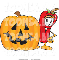 hot toons pic vector illustration red hot chili pepper mascot standing carved halloween pumpkin toons biz design