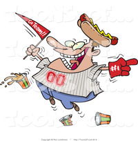 hot toons pics cartoon fat male baseball fan hot dog hat flag hand drinks ron leishman designs