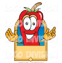 hot toons pics vector logo hot chili pepper mascot cartoon character rectangular blank tan label toons biz design
