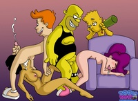 naked toon pics amy wong bart simpson futurama homer philip fry simpsons toon party turanga leela crossover