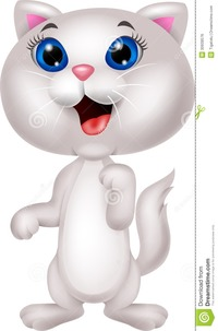 picture of cartoon pussy cute white cat cartoon standing illustration