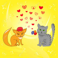 picture of cartoon pussy natareal rendezvous cat pussy valentines motif hand drawing cartoon vector illustration stock photo