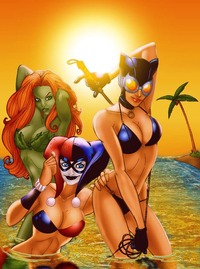 poison ivy porn comic poison ivy harley quinn catwoman sexy bikini beach party shelf porn