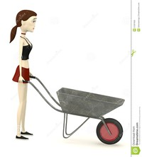 sexy girl toon cartoon girl wheel barrow render royalty free stock