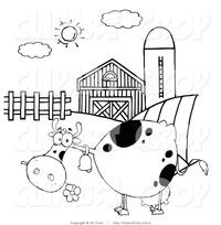 toon black porn clip art black white grazing cow barnyard hit toon cartoon farm animal coloring page printout animals
